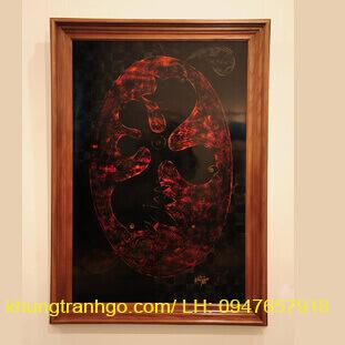 Khung tranh sơn mài hình chữ nhật đứng cao cấp 100% gỗ tự nhiên KSM02