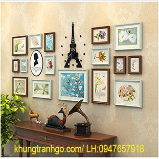 Khung tranh gỗ decor với mô hình thiết kế trang trí ảnh cho phòng khách