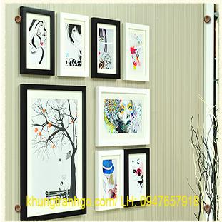 Bộ khung 8 ảnh treo tường gỗ cao cấp màu trắng đen