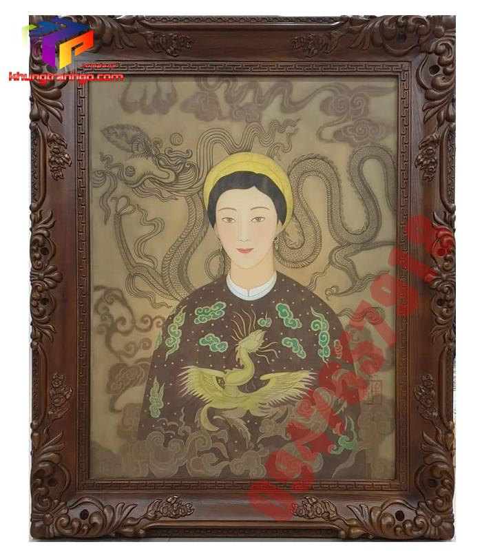 Khung tranh ảnh hoa văn gỗ tự nhiên khung chữ nhật quý phái