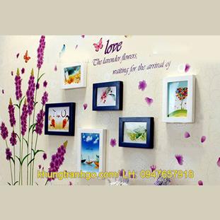 Khung ảnh treo tường gỗ, Decal hoa oải hương trang trí phòng cưới