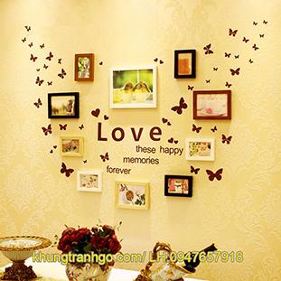 Bộ 10 khung ảnh treo tường gỗ đẹp kết hợp Decal Love