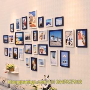 Bộ 28 khung ảnh treo tường trang trí cao cấp gỗ tự nhiên